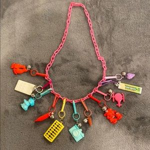 Vintage Hot Pink 80's Plastic Bell Charm Necklace